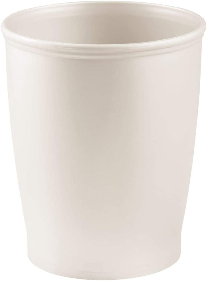 mDesign Modern Round Shatter-Resistant Plastic Small Trash Can Wastebasket, Garbage Container Bin for Bathrooms, Kitchens, Home Offices, Dorm Rooms - Cream/Beige