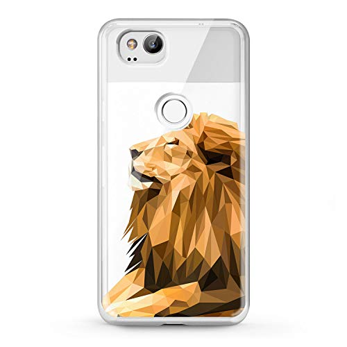 Lex Altern TPU Case Google Pixel 2 3 XL 2016 Clear Animal Lion King Phone Cute Cover Painted Print Abstraction Design Royal Themed Lightweight Protective Flexible Women Silicone Men Stylish Drawing ()