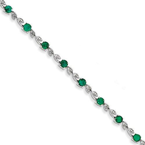 Or blanc 14 carats avec diamants et émeraude-JewelryWeb