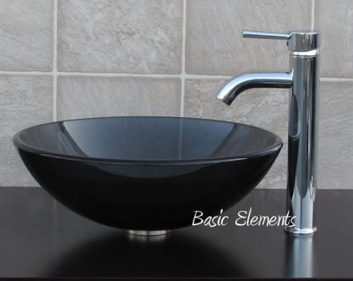 1 2 Thick Clear Black Glass Vessel Sink C3 chrome Faucet, Pop Up Drain Mounting Ring