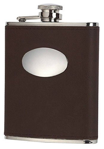 Orton West Mens 6oz Captive Top Hip Flask - Brown