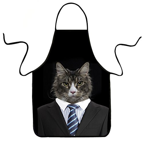 VIPbuy Novelty 3D Animal Cat Print Funny Kitchen Bib Apron Unisex for (Party Apron)