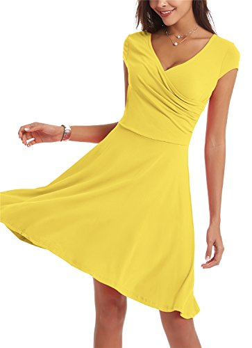 Sleeve Neck Line Women Dresses V Swing Cap for Casual A Yellow Dress 4X6qaXA