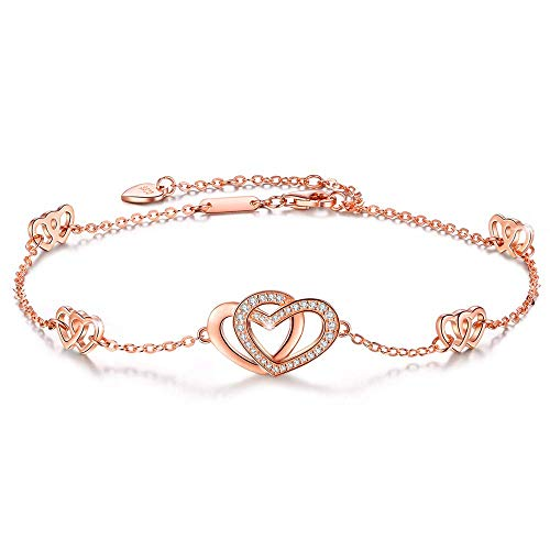 DESIMTION Anklets for Women S925 Sterling Silver Hotwife Womens Heart Foot Rose Gold Adjustable Anklets Ankle Bracelets for Women Gift for Christmas Day