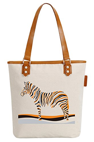 So'each Women's Cute Zebra Animal Canvas Tote Pearly Top Handle Shoulder Bag