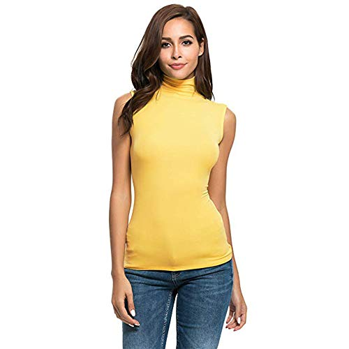 Aniywn Women's Sleeveless High Turtleneck Stretch T-Shirt Pullover Slim Fit Solid Basic Vest Top Blouse Yellow