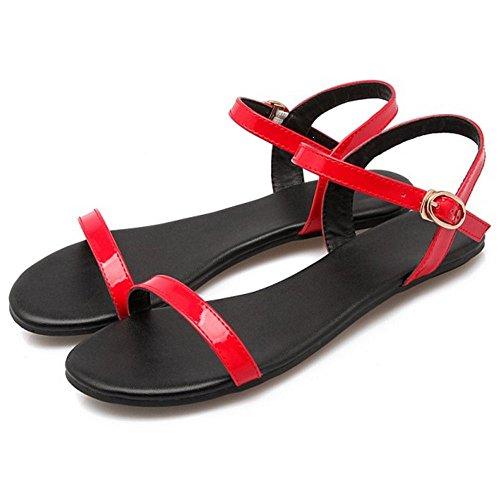 COOLCEPT Mujer Moda Al Tobillo Sandalias Punta Abierta Slingback Planos Zapatos Rojo