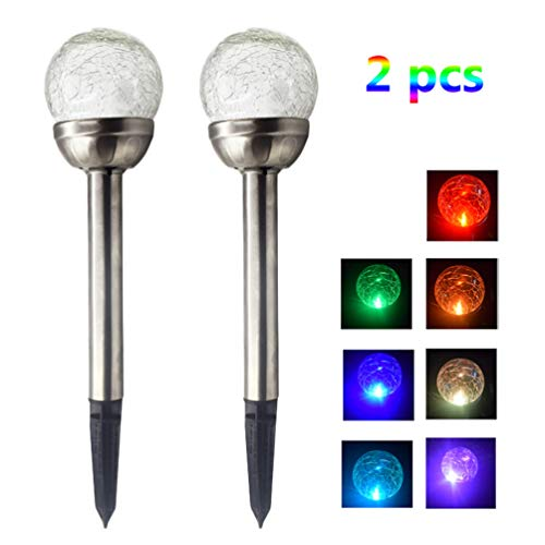 Solar Pathway Lights Crackle Ball Globe Solar Lights Changing and White Color Light for Garden Lawn Path Patio