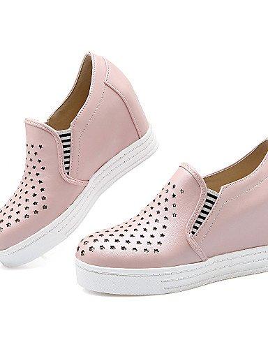 Uk4 Casual Gyht Eu35 C Cuña Punta semicuero tacón Uk3 cuñas Zapatos Plataforma Mujer Zq us6 Cn36 Pink Rosa mocasines Pink Blanco Redonda Vestido Cn34 Eu36 us5 azul exterior De pqdxOnAnw