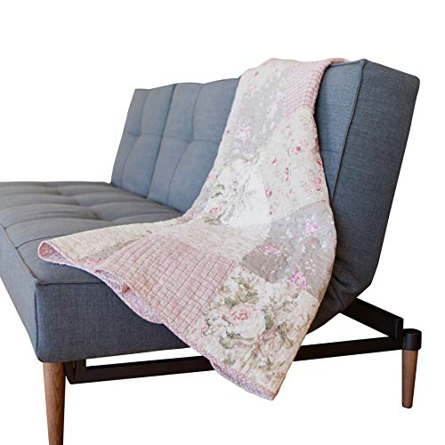 "SLPR Secret Garden Cotton Real Patchwork Quilted Throw (50"" x 60"") 