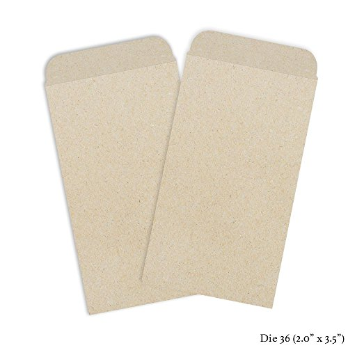 """Set of 50 Miniature Slim Proterra Seed Envelopes - Die 36 (2"""" x 3.5"""") Great For Party Favors, Saving Seeds, Storing Keys & Other Small Objects!"""