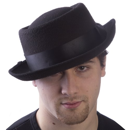 HMS Men's Sim Wool Badness Pork Pie Hat, Black, One Size - Sim Costume