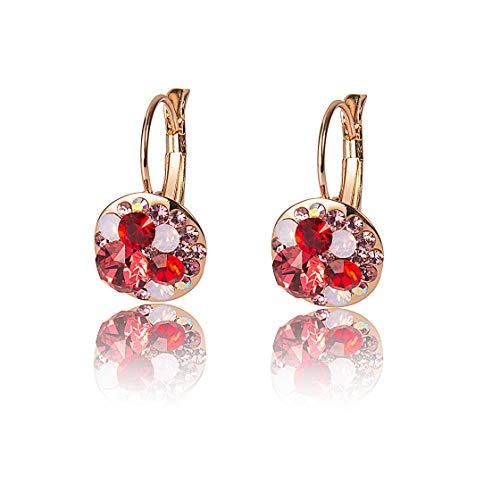 EiYYA Austrian Crystal Lever-Back Dangle Earrings 18k Gold Plated Jewelry for Girls Daughters Women Gift Idea (Pink)