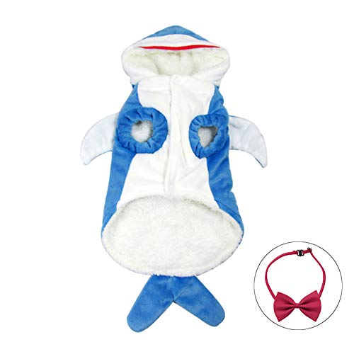 Wow4pets Pet Shark Shape Clothes Dog Warm Costumes Soft Three-Dimensional Cat Dress -