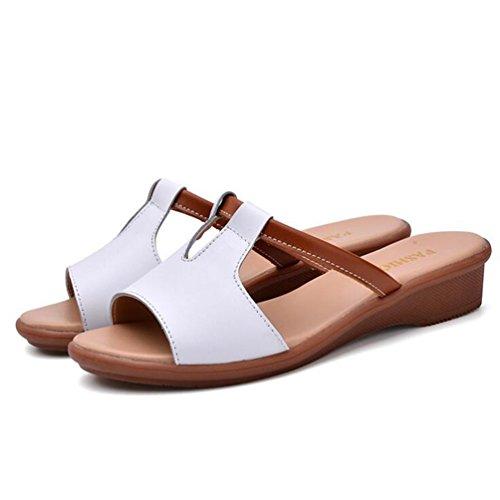YAANCUN Mujeres Cuero Resbalón Respirable Sandalias Verano Estilo Playa Zapatos Sandalias Punta Abierta Blanco