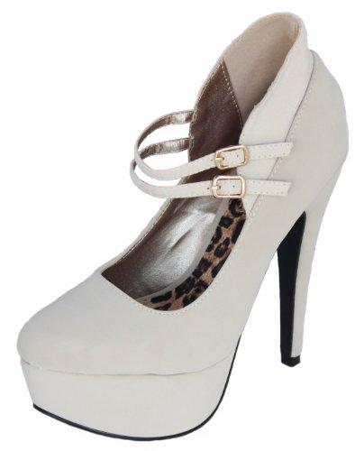 Qupid-131 Stone Nubuck Round Toe Double Strap Mary Jane Pump Platform Women Fashion Shoes Penelope-131