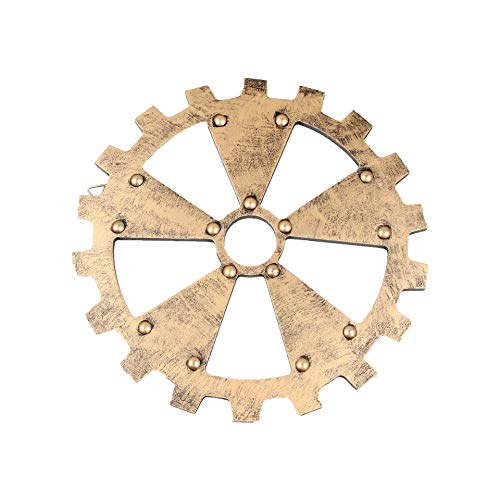 lightclub Funny Vintage Creative Novelty Retro Gear Circle Model Industrial Style Wall Hanging Ornament Decoration for Bar Pub Restaurant Decor Office Golden 24cm