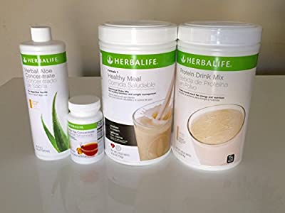 Herbalife QUICK COMBO with PDM - Formula 1 Healthy Meal Shake Mix Cookies and Cream flavor, Protein Drink Mix PDM, Herbal Aloe Concentrate Mango flavor and Herbal Tea Concentrate