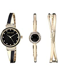 2842948f8c3 Women s AK 3292BKST Swarovski Crystal Accented Gold-Tone and Black Watch  and Bangle Set · Anne Klein