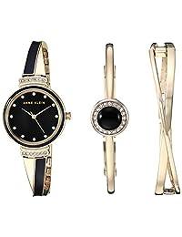 Anne Klein Set de reloj y pulsera con cristales Swarovski para mujer, Dorado/Negro