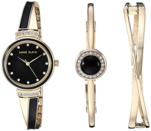 - Anne Klein Women's AK/3292BKST Swarovski Crystal Accented Gold-Tone and Black Watch and Bangle Set