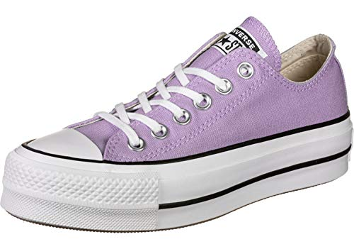 Converse Women's Lift Canvas Low Top Sneaker (7 M US, Washed Lilac/Black/White) ()