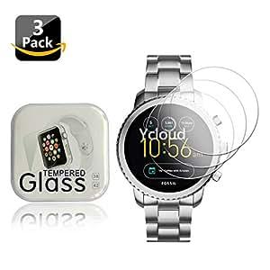 Ycloud [3-Unidades Protector de Pantalla de Vidrio Templado para Fossil Q Explorist 3.Generation Smartwatch Alta Definicion 9H Dureza Anti-Explosion