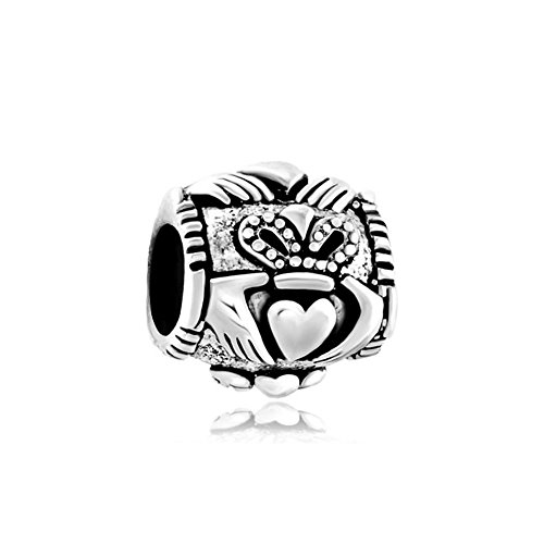 Charmed Craft Sterling Silver Celtic Friendship Claddagh Charms Beads Jewelry Fit Pandora Charm Bracelet (Celtic Charm Womens)