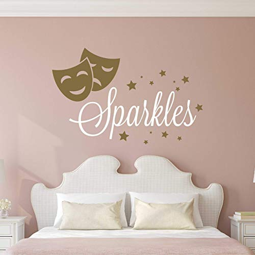 Custom Name Theater Drama Wall Decal - Boys Girls Personalized Name Acting Wall Sticker - Custom Name Sign - Custom Name Stencil Monogram - Girls Boys Wall Decor