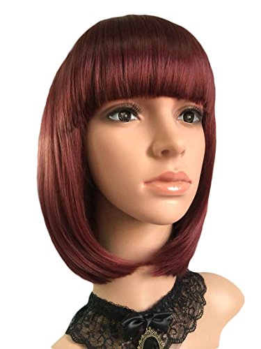 eNilecor Short Hair Wig 14'' 36cm Straight Flat Bang Short Bob Hair Candy Color Cosplay Wigs Natural As Real Hair+ Free Wig Cap (Wine (Red Wig With Bangs)