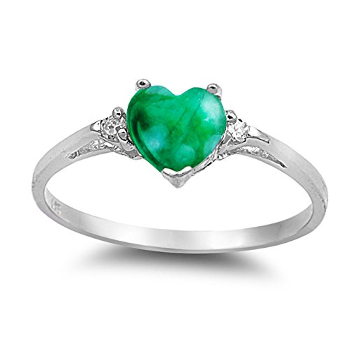 (925 Sterling Silver Cabochon Natural Genuine Green Malachite Heart Promise Ring Size 6)