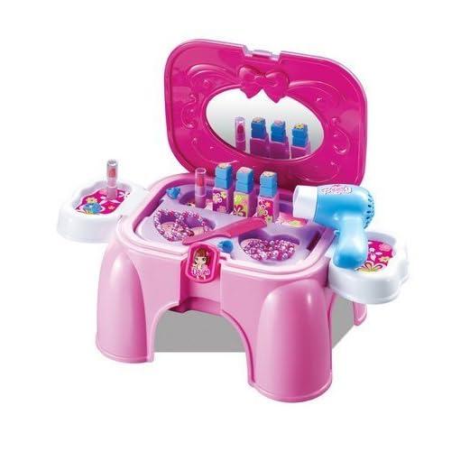 Ensemble coiffeuse/salon de beauté pour enfant - jouet d'imitation - mallette de transport/tabouret