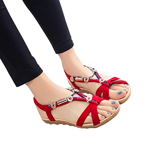 Xturfuo Women's Sweet Summer Bohemia Beaded Sandals Clip Toe Beach Flower Ankle Strap Flat Sandal]()