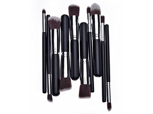 Hezon Ten PCS Makeup Brushes Black Wooden Handle and Sliver Aluminium Holder Stylish Professional Synthetic Makeup Tools Sets EASY TO USE by Hezon
