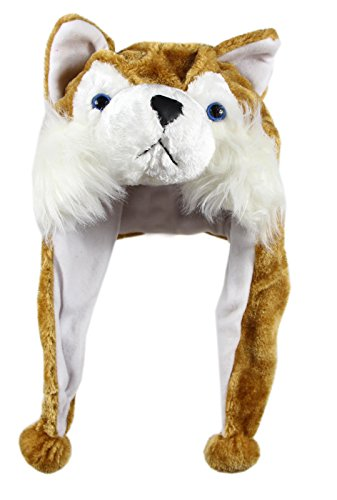 Bioterti Plush Fun Animal Hats –One Size Cap - 100% Polyester with Fleece Lining (Brown (Huskies One Fit Cap)