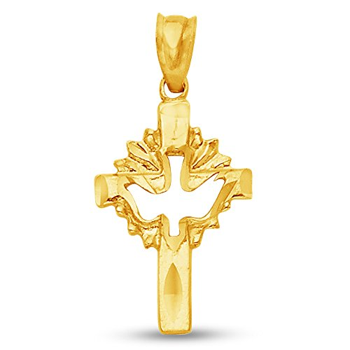 Sonia Jewels 14K Yellow Gold Diamond-Cut Ornate Religious Christian Cross Crucifix with Holy Spirit Dove Pendant Charm (18x12 mm)
