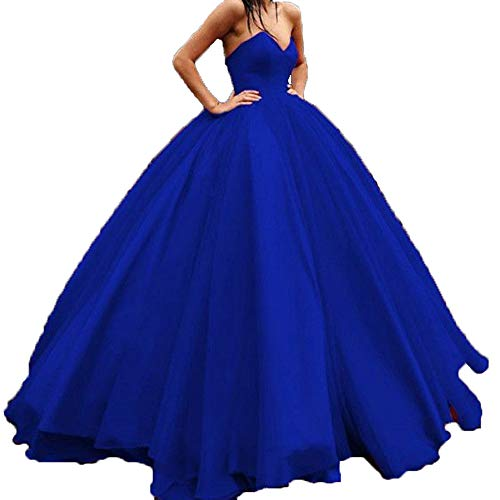 Topashe Women's Strapless Tulle Ball Gown Long Sweetheart Quinceanera Dresses Royal Blue Size 2