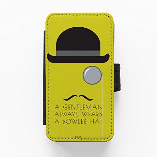 Bowler Hat Hochwertige PU-Lederimitat Hülle, Schutzhülle Hardcover Flip Case für iPhone 5 / 5s vom BJE Art + wird mit KOSTENLOSER klarer Displayschutzfolie geliefert