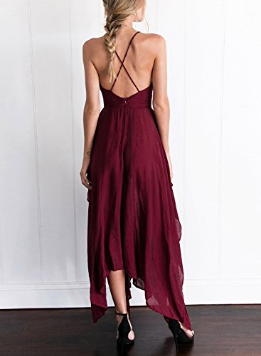 Futurino - Vestido - cuello hálter - Sin mangas - para mujer rojo vino