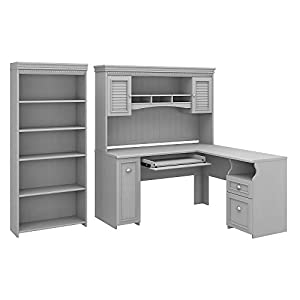 Bush Furniture Fairview L Shaped Desk with Hutch and 5 Shelf Bookcase, 60W, Cape Cod Gray