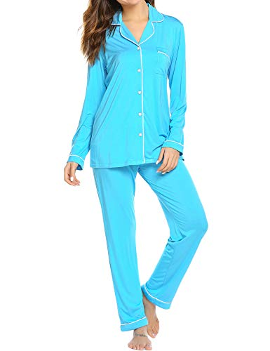 Ekouaer Pjs Womens Long Sleeve Sleepwear Soft Slip Set (Peacock Blue,L)