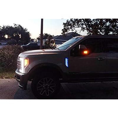 iJDMTOY Ultra Blue LED Background Illumination Kit Compatible With 2020-2020 Ford F250 F350 F450 Super Duty Side Fender Chrome Emblem: Automotive