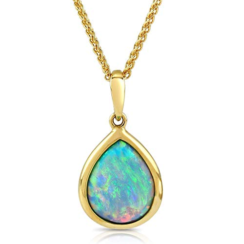 Paul Wright Created Opal Pendant Necklace, 10K Yellow Gold, 10mm x 8mm Teardrop (1.00 cttw), 16