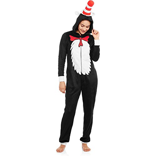 Dr. Seuss Cat in The Hat Women's Plush Fleece Union Suit Pajama (XX-Large/ 18W-20W)
