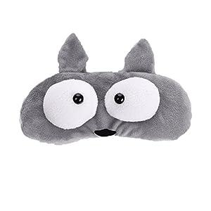 3D Cartoon Cute Sleeping Mask Big Eye Shades Creative Rest Travel Sleeping Ice Bag Blindfold (Grey-Wolf)