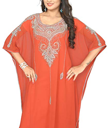 KoC Women's Kaftan Maxi Dress Farasha Caftan KFTN128-Salmon for sale  Delivered anywhere in USA