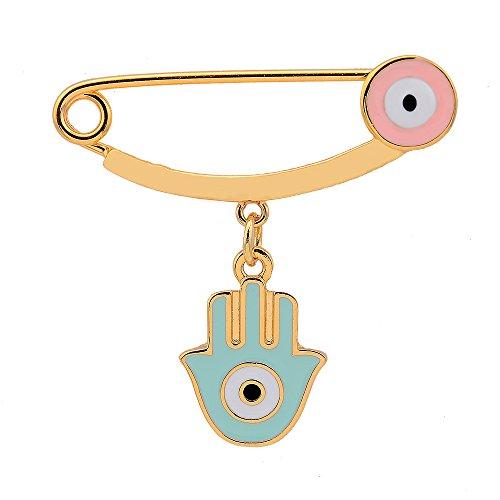 Bala Enamel Brooches Pins for Women Charm Brooch for Dresses Hamsa Brooch Evil Eye Lucky Cute 18K Gold Plated Enamel Evil Eye
