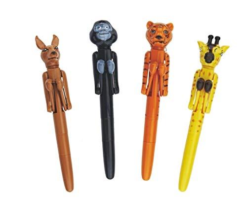 Aryellys Novelty Jungle Animals Boxing Pen 4 Pack Zoo Set Giraffe Tiger Gorilla Kangaroo
