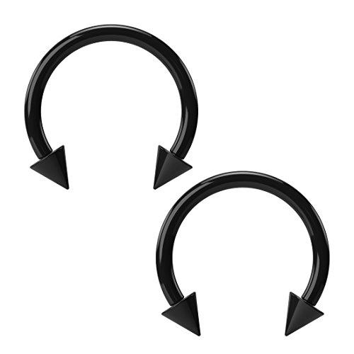 Black Horseshoe Piercing Acrylic 16G (internal diameter: 10mm 3/8') x 2 set by BLING UNIQUE