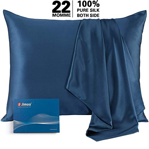 J JIMOO Natural Silk Pillowcase,for Hair and Skin with Hidden Zipper, 22 Momme 600 Thread Count 100% Mulberry Silk (Standard 20